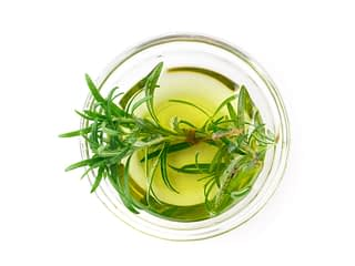 Rosemary,Oil,Isolated,On,White,Background.,Top,View.